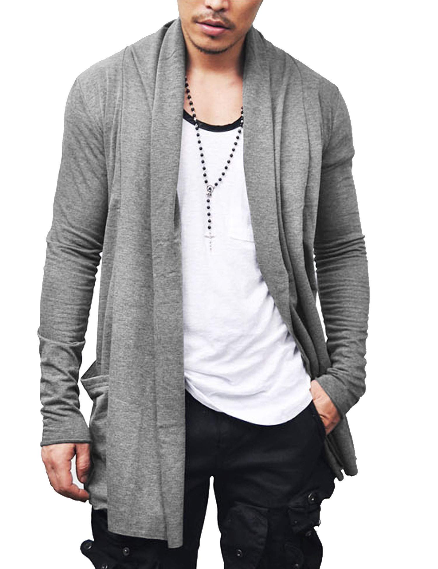 COOFANDY Men's Ruffle Shawl Collar Long Sleeves Cardigan (Large, Grey)