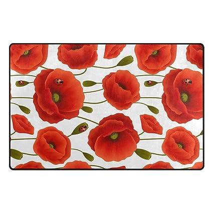 Amazon wozo vibrant floral poppy flower area rug rugs non slip wozo vibrant floral poppy flower area rug rugs non slip floor mat doormats living room mightylinksfo