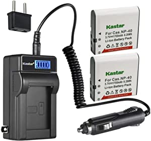 Kastar 2-Pack GB-60 Battery and LCD AC Charger Compatible with GE GB-60 GB60 Battery, GE GE X600 GE General Imaging Power Pro X600 Digital Camera SOSUN Sosun 301S-Plus Camera Camcorder