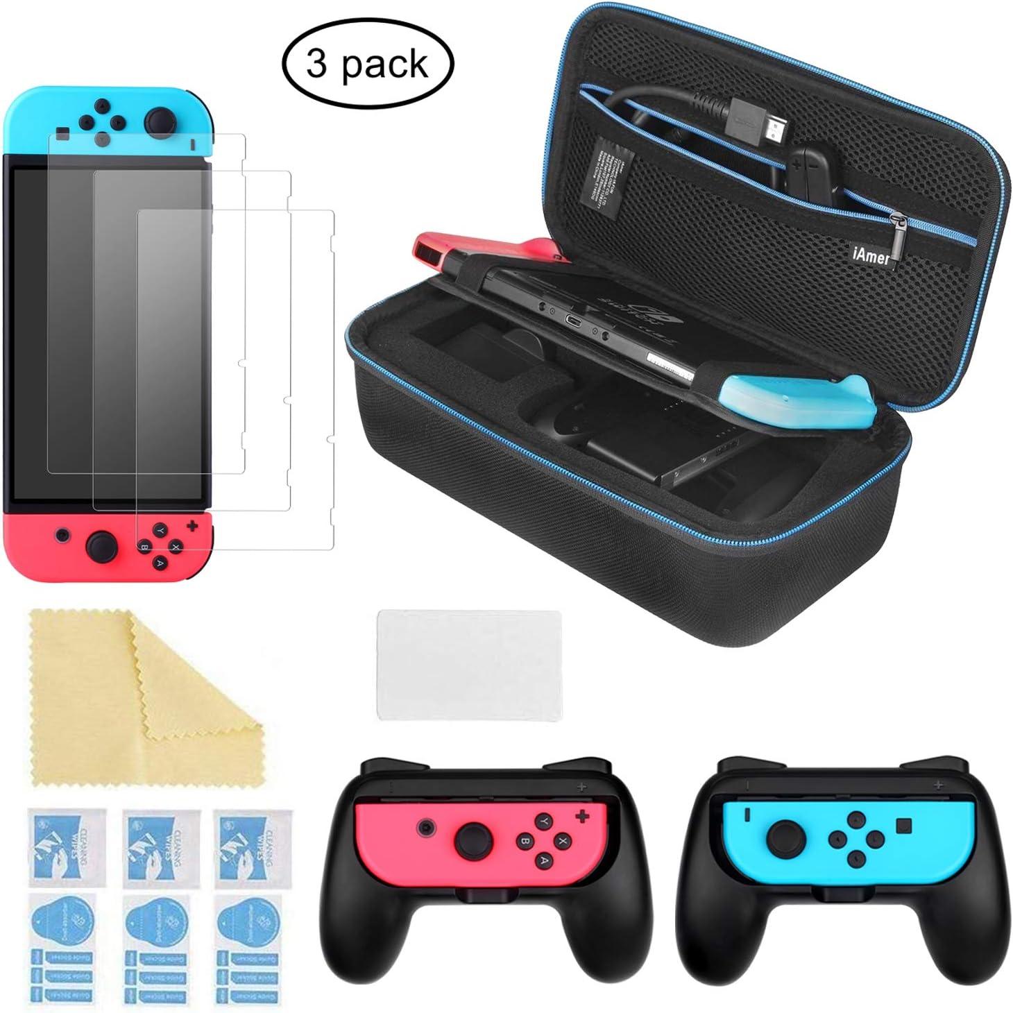 iAmer 6 en 1 Accesorios para Nintendo Switch,Funda para Nintendo Switch,Mandos Joy-con para Nintendo Switch,3 Protectores de Pantalla: Amazon.es: Electrónica