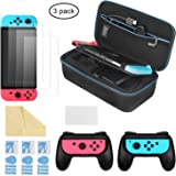 iAmer 6 in 1 Kit di accessori per Nintendo Switch, Nintendo Switch Custodia per il Trasporto +2 Grip per Nintendo Switch Joy-Con+ 3 Pellicole Protettive