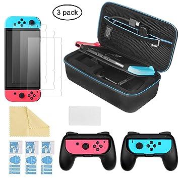 qualité parfaite artisanat exquis prix raisonnable iAmer 6 en 1 Accessoires pour Nintendo Switch , 1 Etui pour Nintendo  Switch, 2 Grip pour Joy-con Nintendo Switch, 3 Protection écran pour Switch