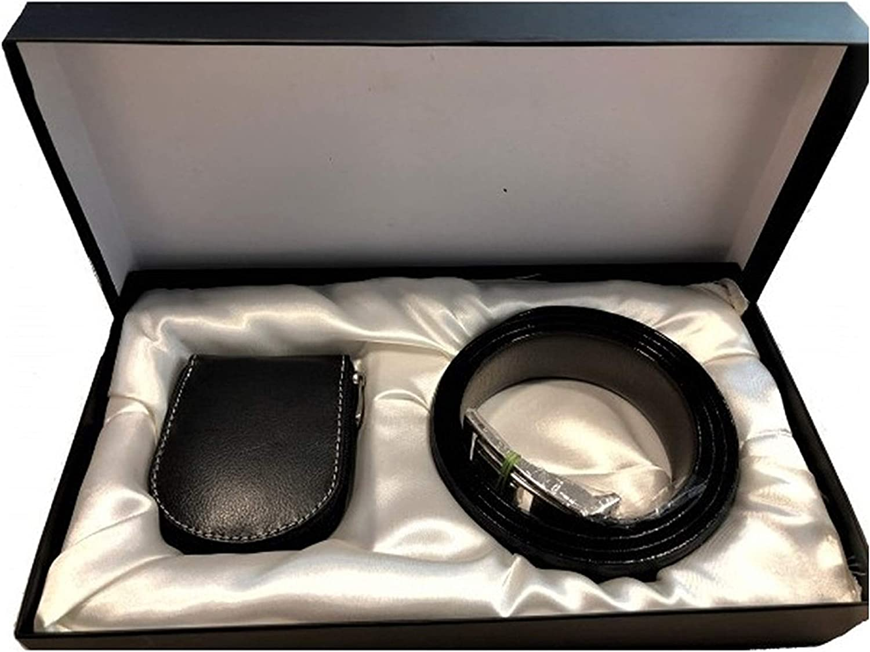 BARBACADO - Estuche de regalo para hombre con cinturón y monedero de piel negra, regalo para hombre + monedero, estuche para hombre, cinturón de piel para hombre: Amazon.es: Ropa y accesorios