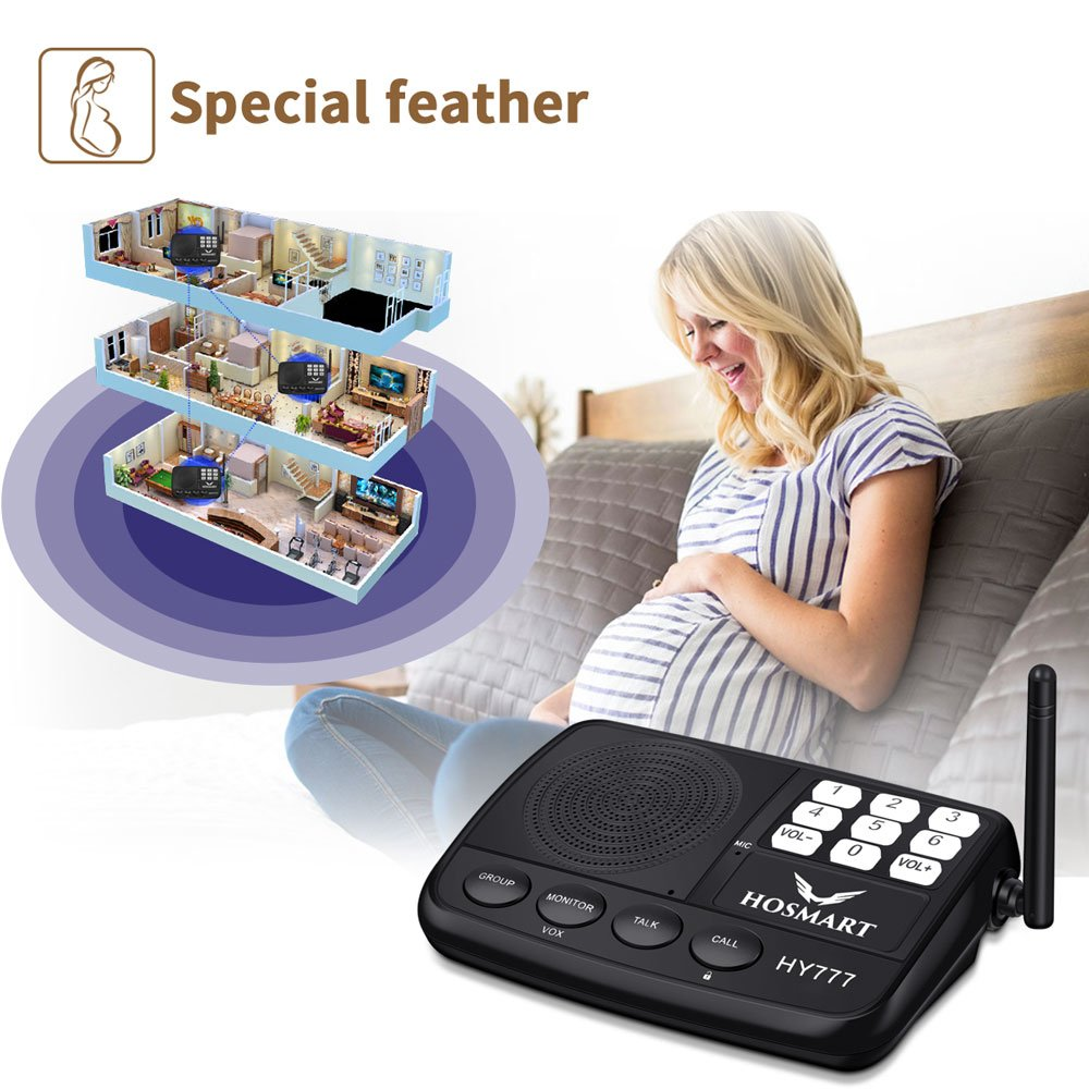 Sistema Intercomunicador Inal/ámbrico Hosmart 1500FT para Hogar y Oficina 2 Estaciones