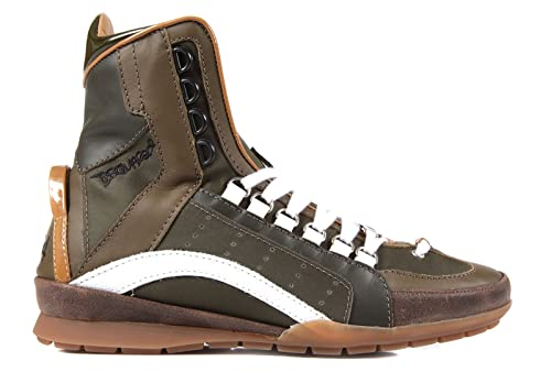 Dsquared2 Dsquared zapatos zapatillas de deporte largas hombres en piel verde EU 42.5 W13 SN405 V081 M058: Amazon.es: Zapatos y complementos