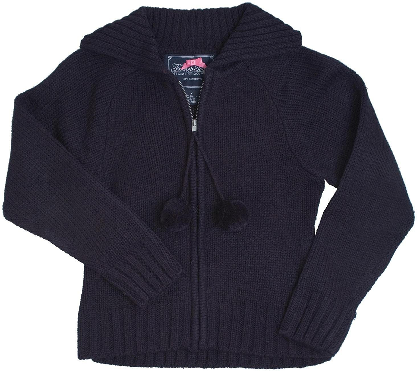 French Toast School Uniform Girls Pom-Pom Zip Up Cardigan Sweater SC9087