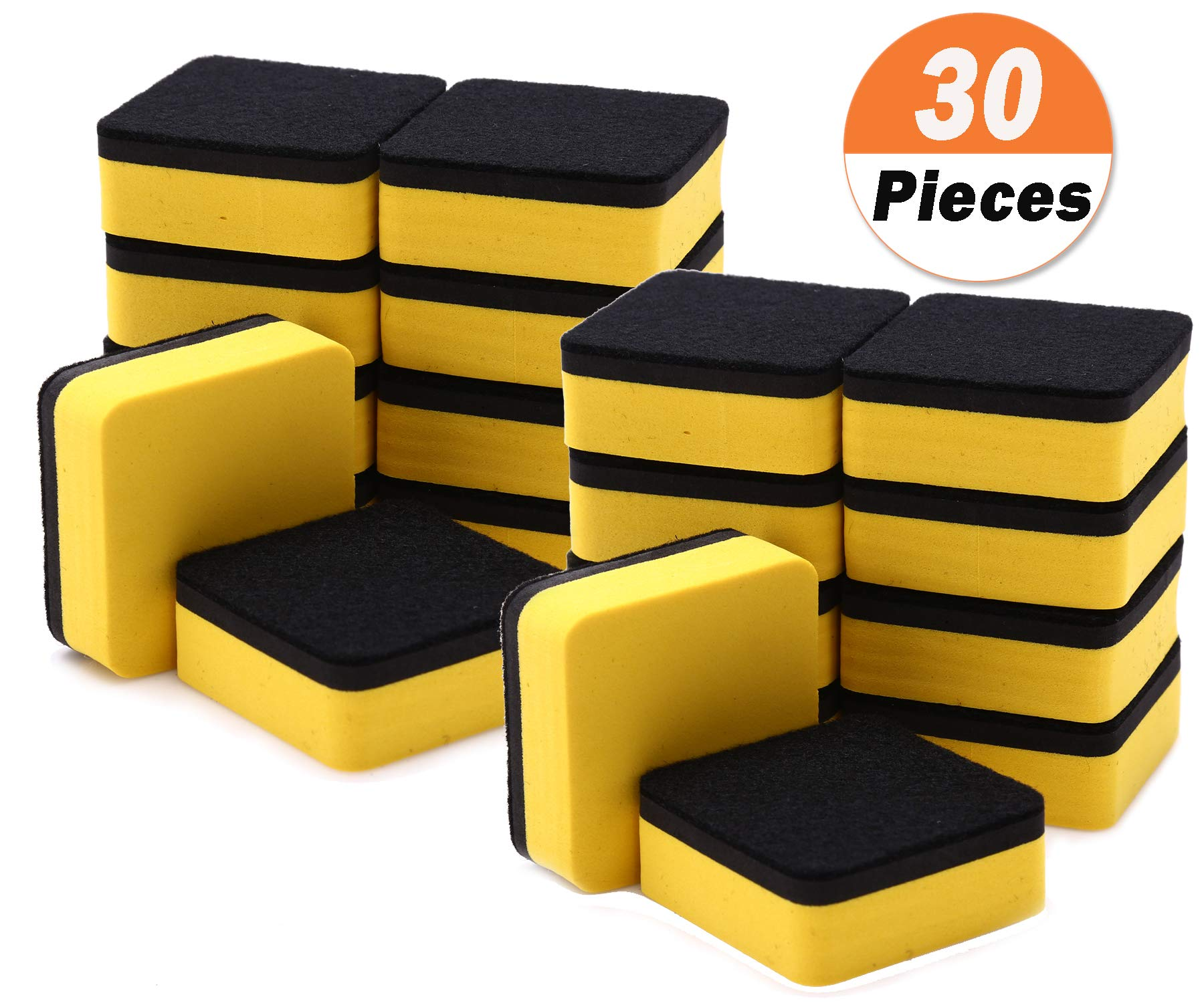 30 Pack Magnetic Whiteboard Eraser for School Classroom, Office, Home - Buytra Dry Erase Erasers Cleaner for Dry-erase White Board, 1.97 x 1.97'', Square Shape (Yellow)
