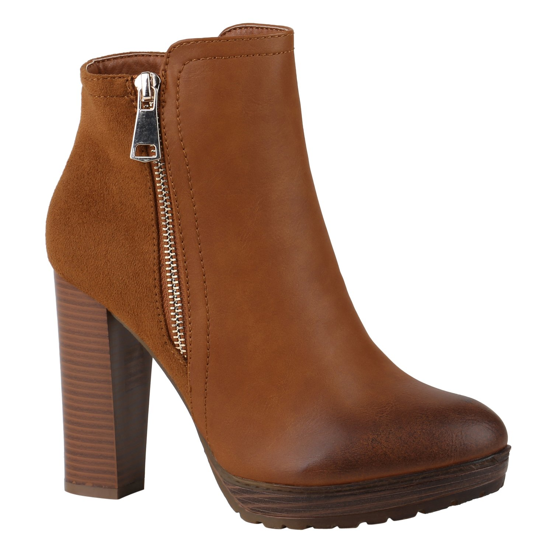 Stiefelparadies Damen Stiefeletten High Heels mit Blockabsatz Profilsohle Flandell Hellbraun Zipper Autol