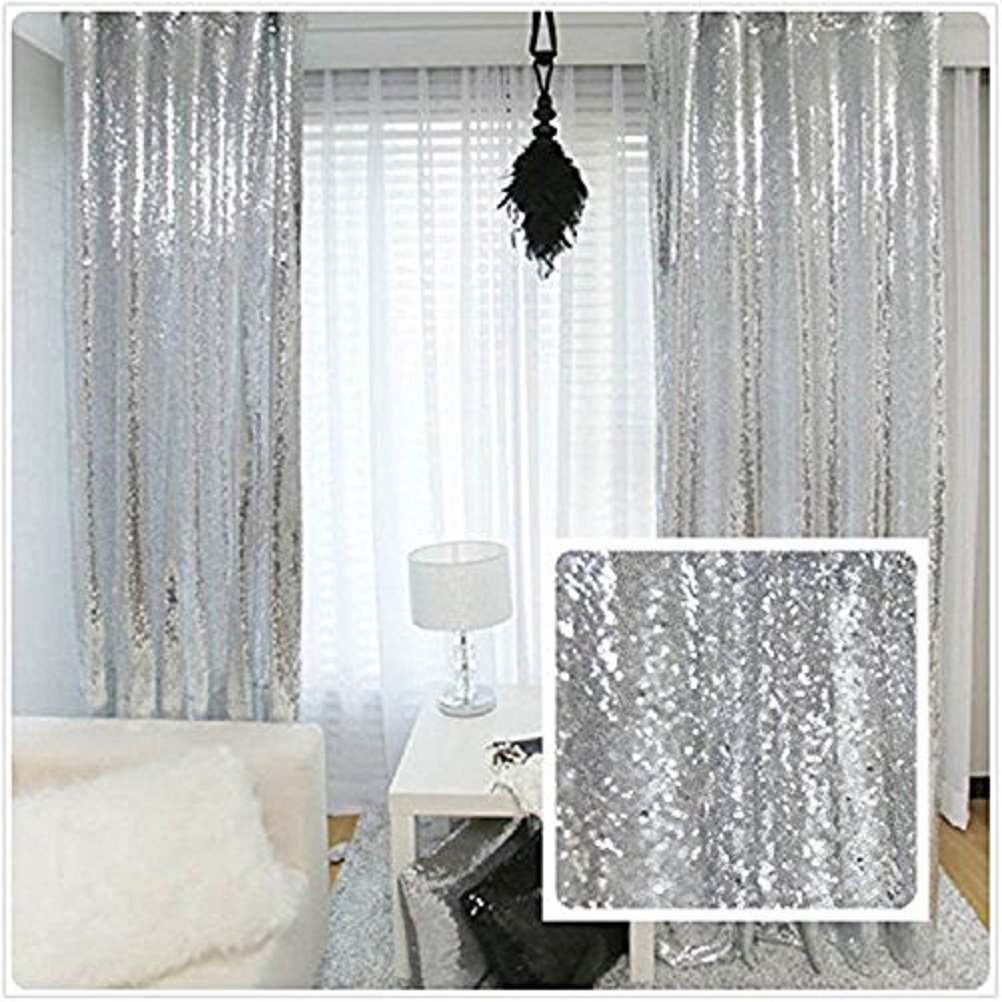 TRLYC Sequin Backdrop Curtain Panels Window Draperies-(Silver Color) 2FTx8FT 4 Pieces Wedding Party Background Drapes