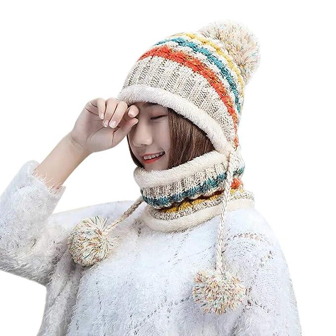 58cebf1fe9fdb4 Lanzom Women Lady Winter Beanie Hat Scarf Set Warm Knit Earflap Hat Circle  Scarves (Beige