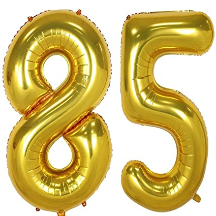 40inch Gold Foil 85 Helium Jumbo Digital Number Balloons 85th Birthday Decoration For Girls Or