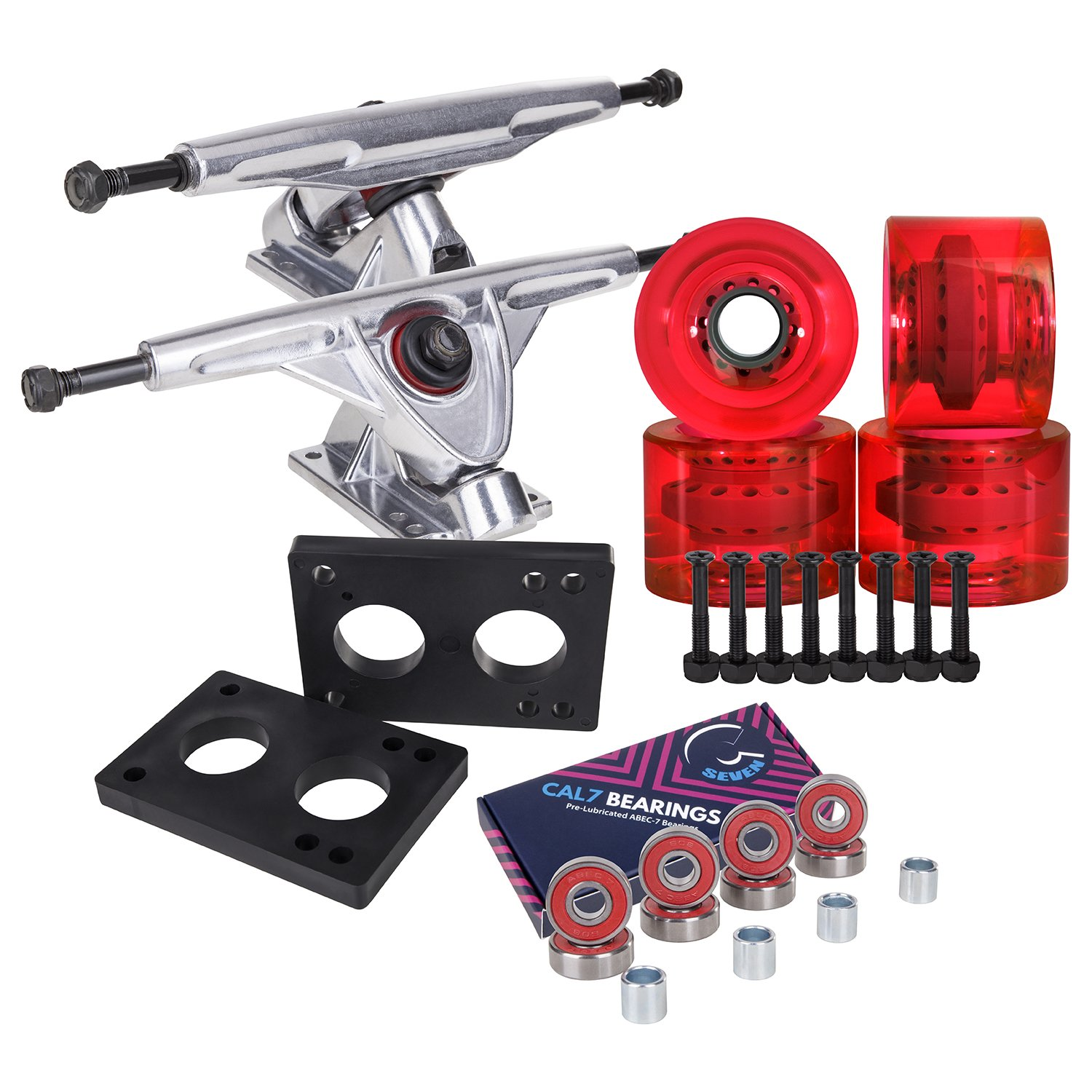 Cal 7 Longboard Skateboard Combo Package with 70mm Wheels & 180mm Lightweight Aluminum Trucks, Bearings Complete Set & Steel Hardware (Silver Truck + Transparent Red Wheels) by Cal 7