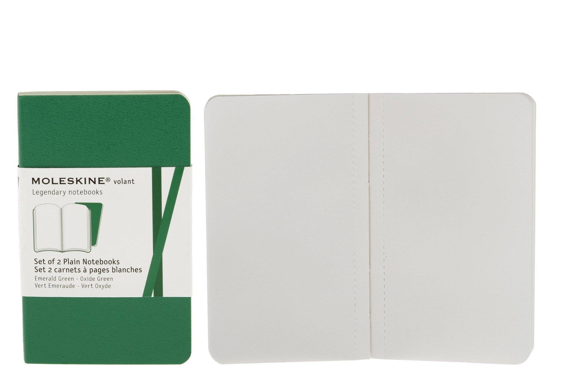 Moleskine Volant Notebook (Set of 2), Extra Small, Plain, Emerald Green, Oxide Green, Soft Cover (2.5 x 4)