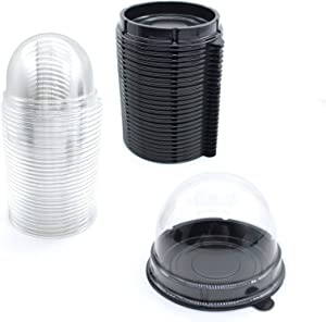 Clear Plastic Mini Cupcake Container,50 PC Mooncake Boxes Muffin Pod Dome Muffin Single Cupcake Holders Individual Cupcake Containers Plastic Disposable Wedding Birthday Gifts Boxes Supplies-Black