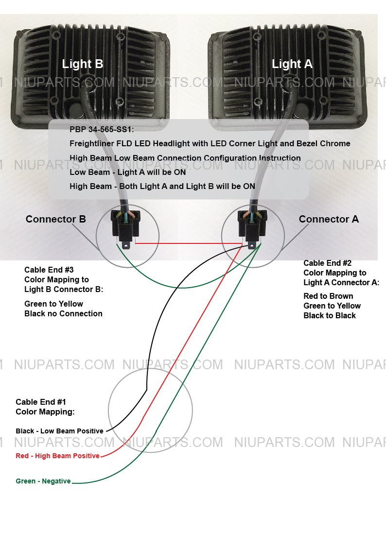 Led Headlight With Corner Light And Bezel Chrome Wiring Diagram Freightliner Coe Driver Passenger Side Fit Fld Automotive