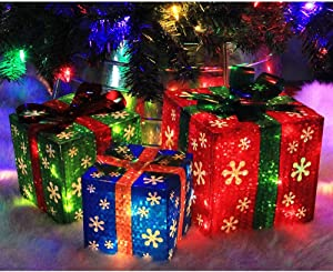 ATDAWN Set of 3 Lighted Gift Boxes Christmas Decorations, Red Green and Blue Present Boxes, Christmas Home Gift Box Decor