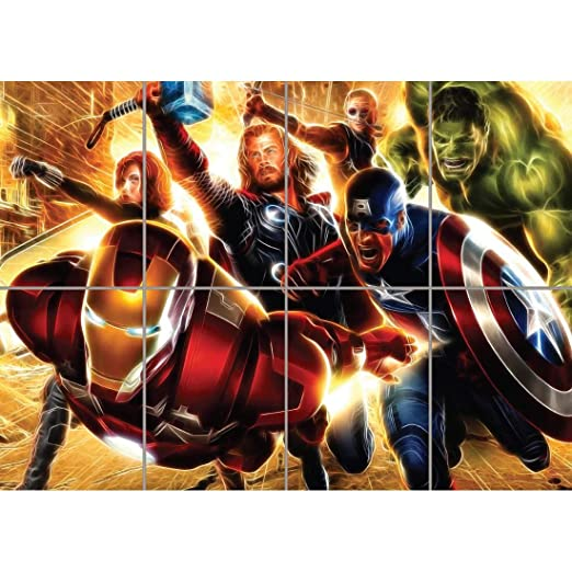 LIGHT ART AVENGERS SUPER HEROES GIANT ART PRINT PICTURE ...