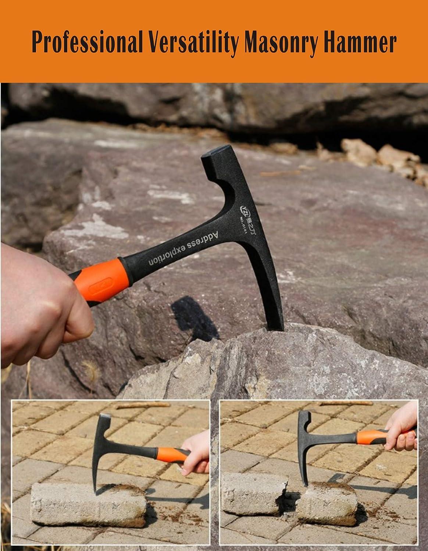 negro Meccion Rock Martillo de p/úa de punta plana martillo geol/ógico//mamposter/ía con construcci/ón forjada y agarre reductor de golpes
