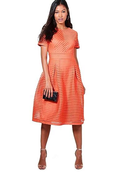 Orange Womens Boutique Zaira Frill Skirted Prom Midi Dress - 6