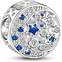 TinySand Charms Pandora Stytle en Pur Argent 925 Sterling Breloque Ronde avec Ornement des Etoiles AAA Zircon, Compatible avec Bracelets,Cadeau Idéal pour Femmes