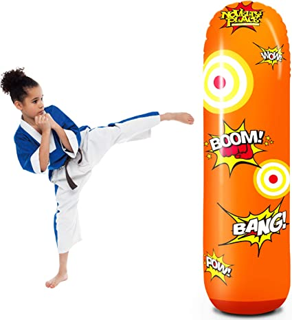 Novelty Place Kids Inflatable Punching Bag - 4 Feet Tall Free Standing Socker Bopper Buddy - Hit & Bounce Back Air Bop Toy Fun for All Ages Boys ...