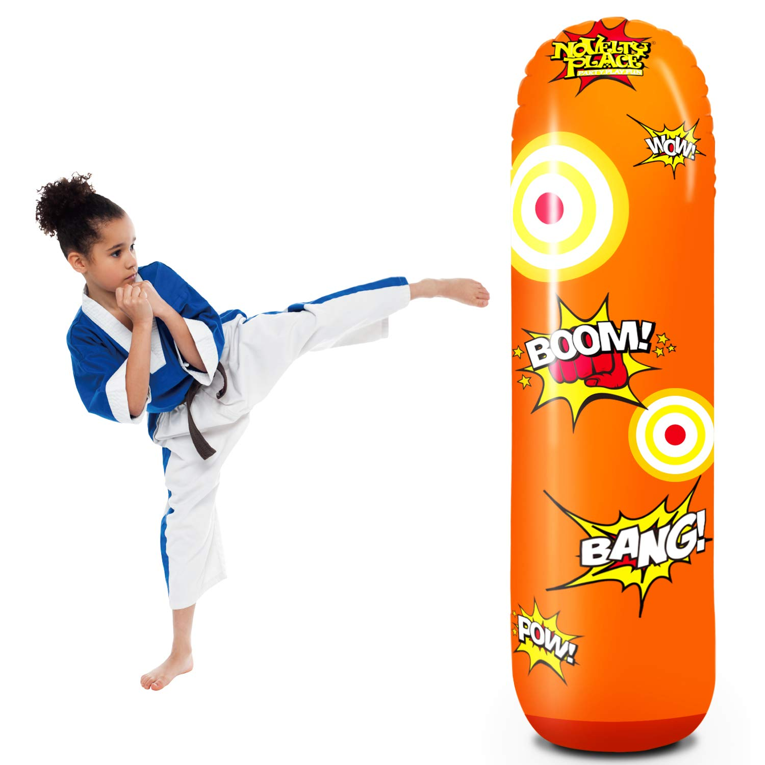 Novelty Place Kid's Inflatable Punching Bag - 4 Feet Tall Free Standing Socker Bopper Buddy - Hit & Bounce Back Air Bop Toy Fun for All Ages Boys Girls Fitness & Stress Relief