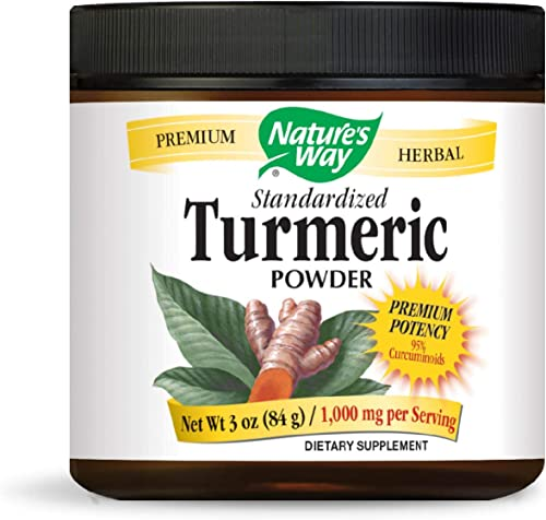 Nature s Way Standardized Turmeric Powder, 1,000 mg per Serving, Tru-ID Certification, Vegetarian, 3 Ounce Packaging May Vary
