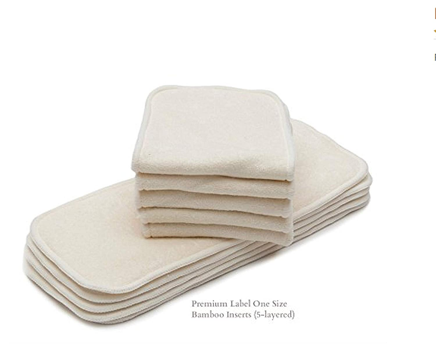 10/Pack KaWaii Premium Label 4-Layered Bamboo Inserts One Size 8-36 lbs, NO Microfiber or fleece inside Luvyourbaby Products
