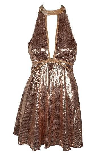 55549da4720f Free People Women s Rose Gold Sequin Sleeveless Dress
