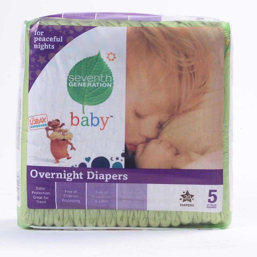 Seventh Generation Stage 5 Overnight Baby Diaper - 20 per pack - 4 packs per case.