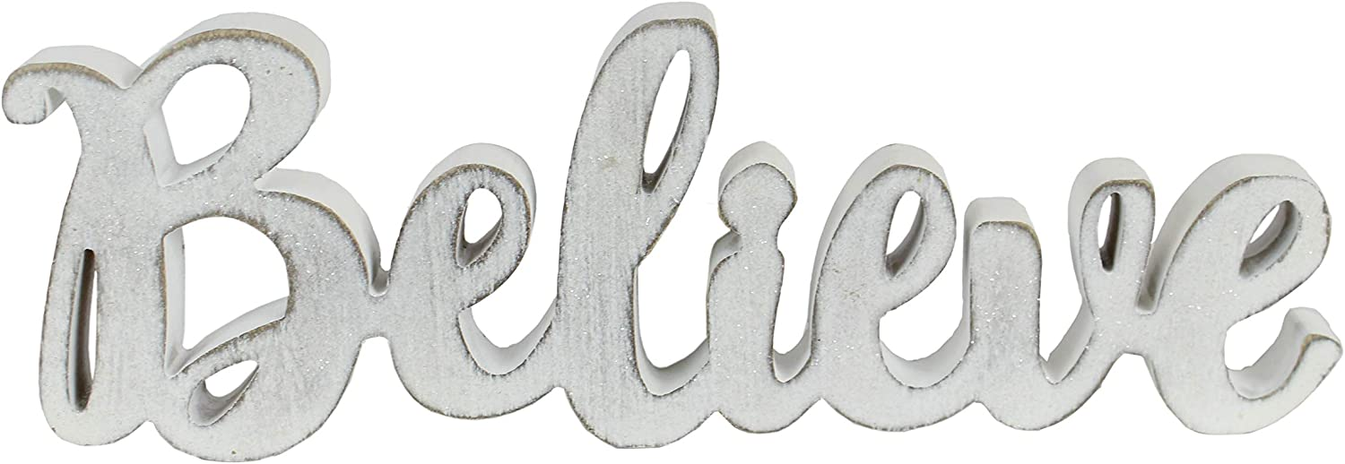 """Windy Hill Collection 16"""" x 5.5"""" Believe Freestanding Cutout Wood Block Home Décor (White)"""