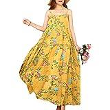 YESNO Women Plus Size Casual Long Maxi Summer Beach Swing Dresses Empire Waist Tiered Bohemian Spaghetti Dress XS-5X E100