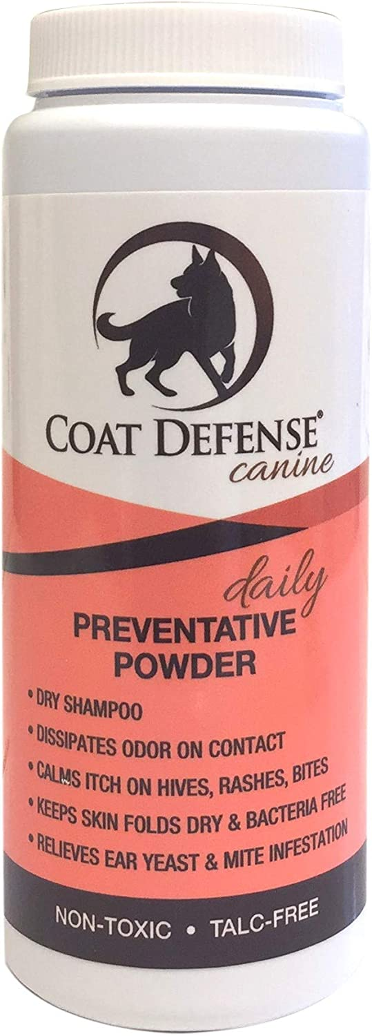 Coat Defense Dog Daily Preventative Powder  Treats and Prevents Hot Spots, Itchy Skin,Bacterial andFungalSkin Conditions,  Excellent Waterless Dry Shampoo 6 Ounce Powder   Made In USA