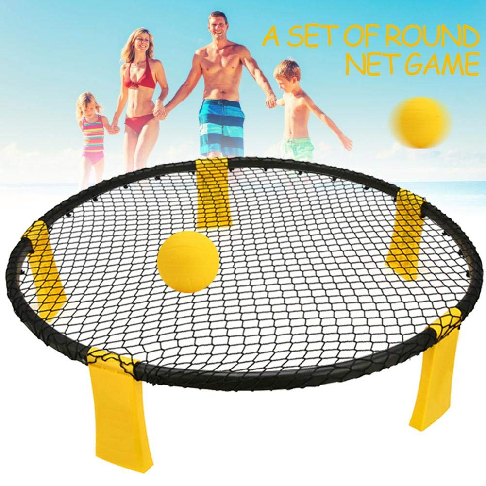 miniflower Slam Ball Game Set Spike Battle Ball Volleyball Spike Game with Pump Upgraded Stronger Playing Net and Balls Foldable Drawstring Bag for Lawn Yard Beach by miniflower