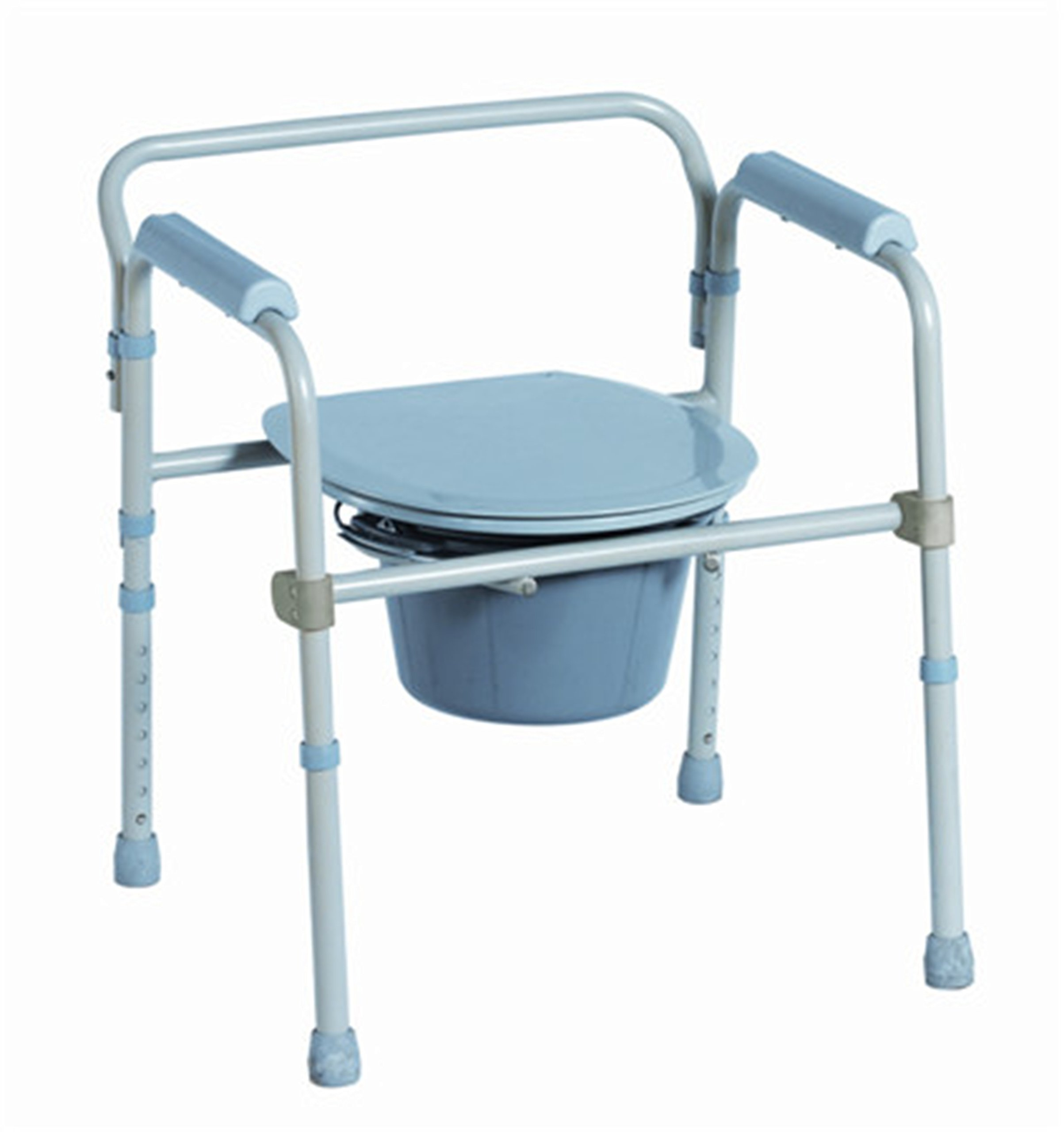 Rehabilitation Advantage Steel Folding Commode Chair, Bucket, Handle, Lid, Cover, Splash Shield and Seat