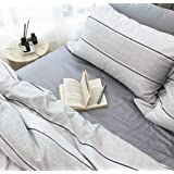 Minimalist Abstract Striped Duvet Quilt Cover Dusty Taupe Tan Light Grey Geo Brush Stroke Pattern 100-percent Cotton Sateen 400TC 3 Piece Bedding Set (Queen, Marmara)