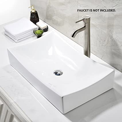 Ainfox Vessel Sink Vanity Bowl Ceramic, Pop Up Drain White Square For  Bathroom