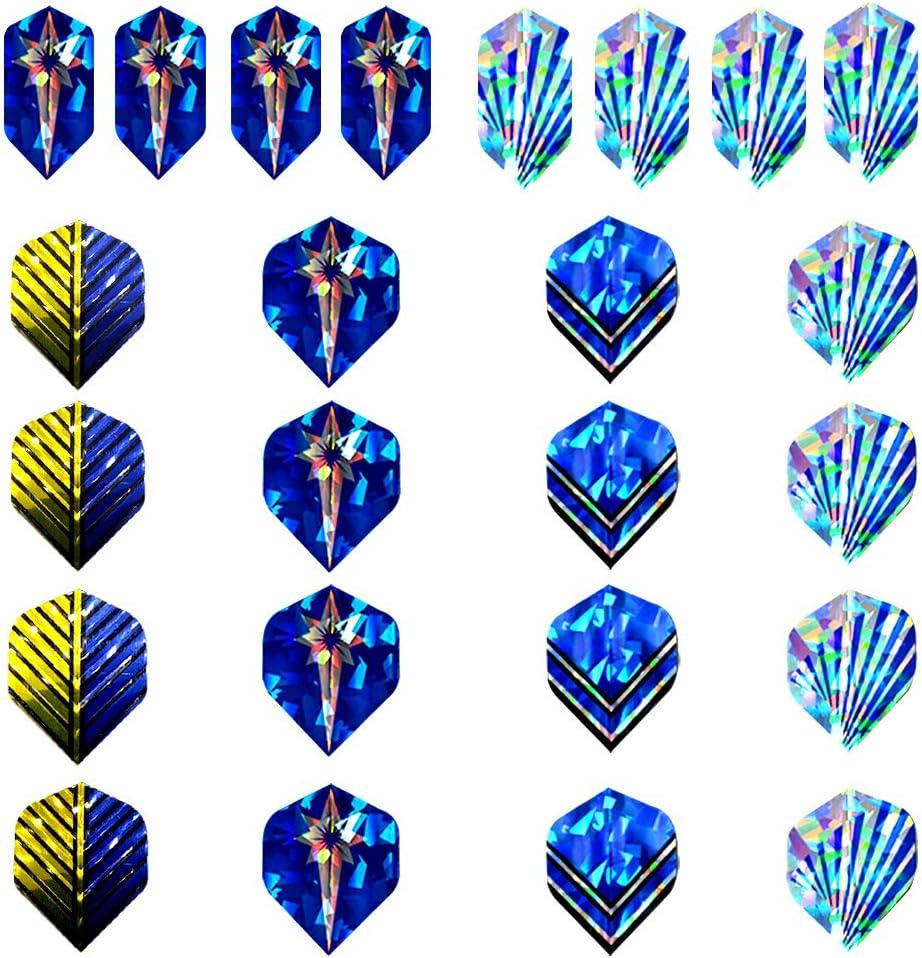 Dardos Profesionales Punta Plastico (18g), 12 Dardos de Plástico para Bar Dianas Electrónicas - con Barriles de Acero Silver, eje de dardos azul,O-rings + 24 Plumas azul (16 Slim / 8 Standard):