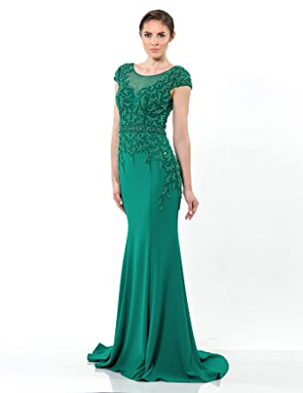 14d7979a23 Terani Couture Cap-Sleeved Beaded Illusion Bodice Long Dress at Amazon  Women s Clothing store