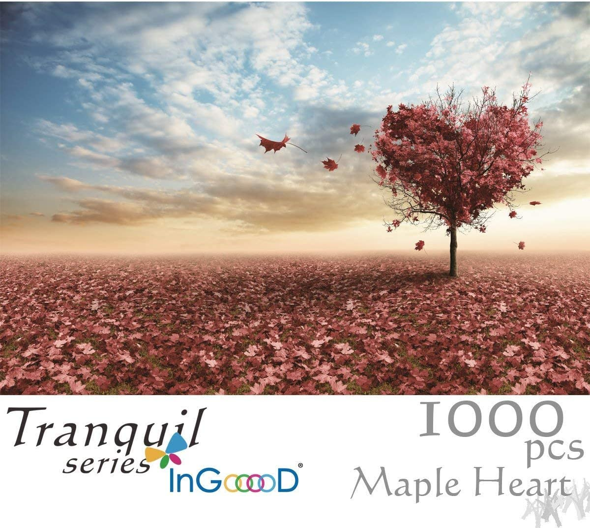 Ingooood Jigsaw Puzzles 1000 Pieces- Tranquil Series Maple Leaves Heart- for Adult