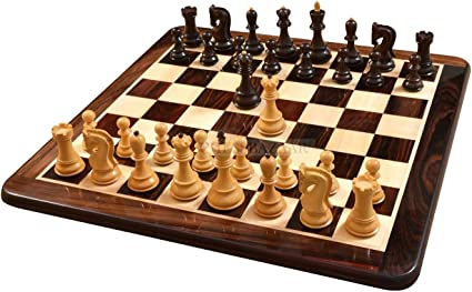 WOODEN CHESS PIECES CHESSMEN SOLID WOOD WITH ROSEWOOD STORAGE BOX