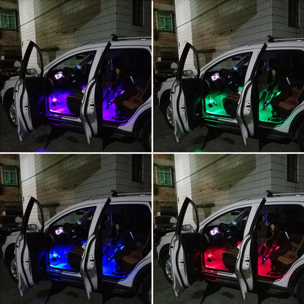 12V 1 Year Warranty W5W RGB LED Bulbs with Remote Controller RGBW 501 194 168 6SMD 5050 Silicone Strobe lights Car Wedge Side Light 4pcs 194 T10 LED Atmosphere lights