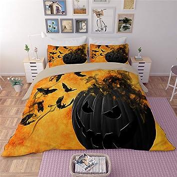 100/% Poliestere HD-Dreamer Halloween Set Di Biancheria Da Letto Lenzuola 3 Pezzi 1*Copripiumino 2*Federezi Matrimoniale Pieno Regina Re Dimensione Contemporaneo,A,173*218Cm