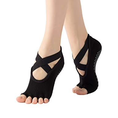 Senmor mujer calcetines de yoga calcetines antideslizantes ...