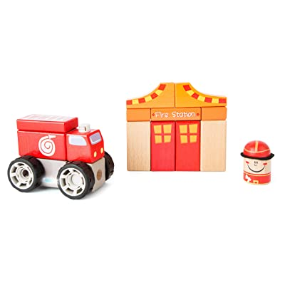 Small Foot Wooden Toys Fire Brigade Construction Set with Sound - Toy Designed for Kids, Ages 2 & Up: Toys & Games