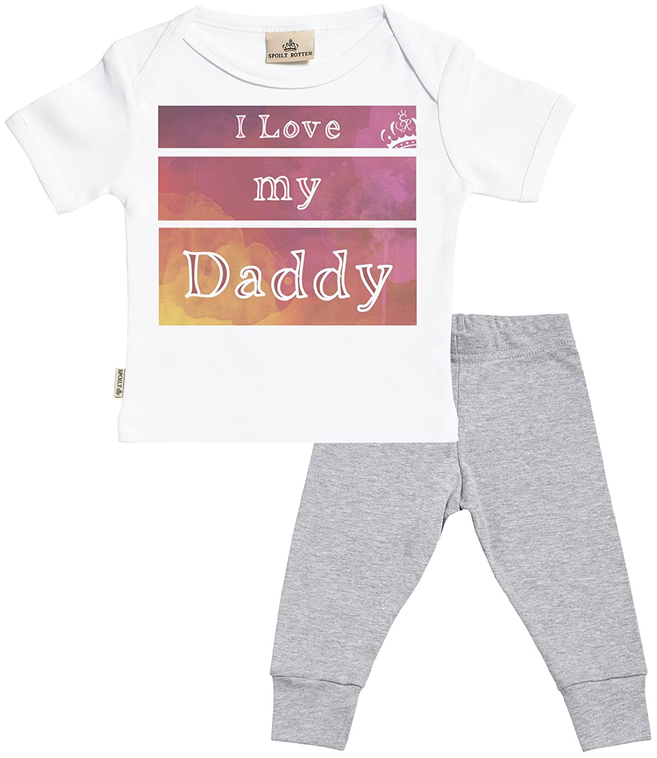 Baby T-Shirt /& Baby Jersey Trousers I Love My Daddy Baby Set Baby T Shirt /& Baby Bottoms Outfit SR