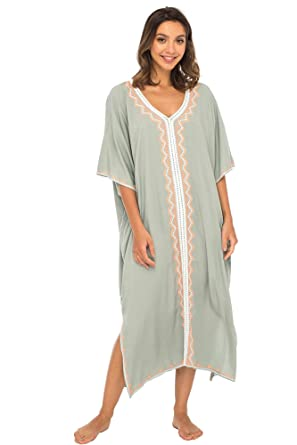 c956f771a3 Back From Bali Womens Beach Cover up Maxi Embroidered Dress, Long Beach  Caftan Poncho for