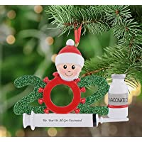 H HOME-MART 2021 Christmas Ornaments DIY Hanging Resin Decoration with Glitter, Survived Family Xmas Tree Ornament…
