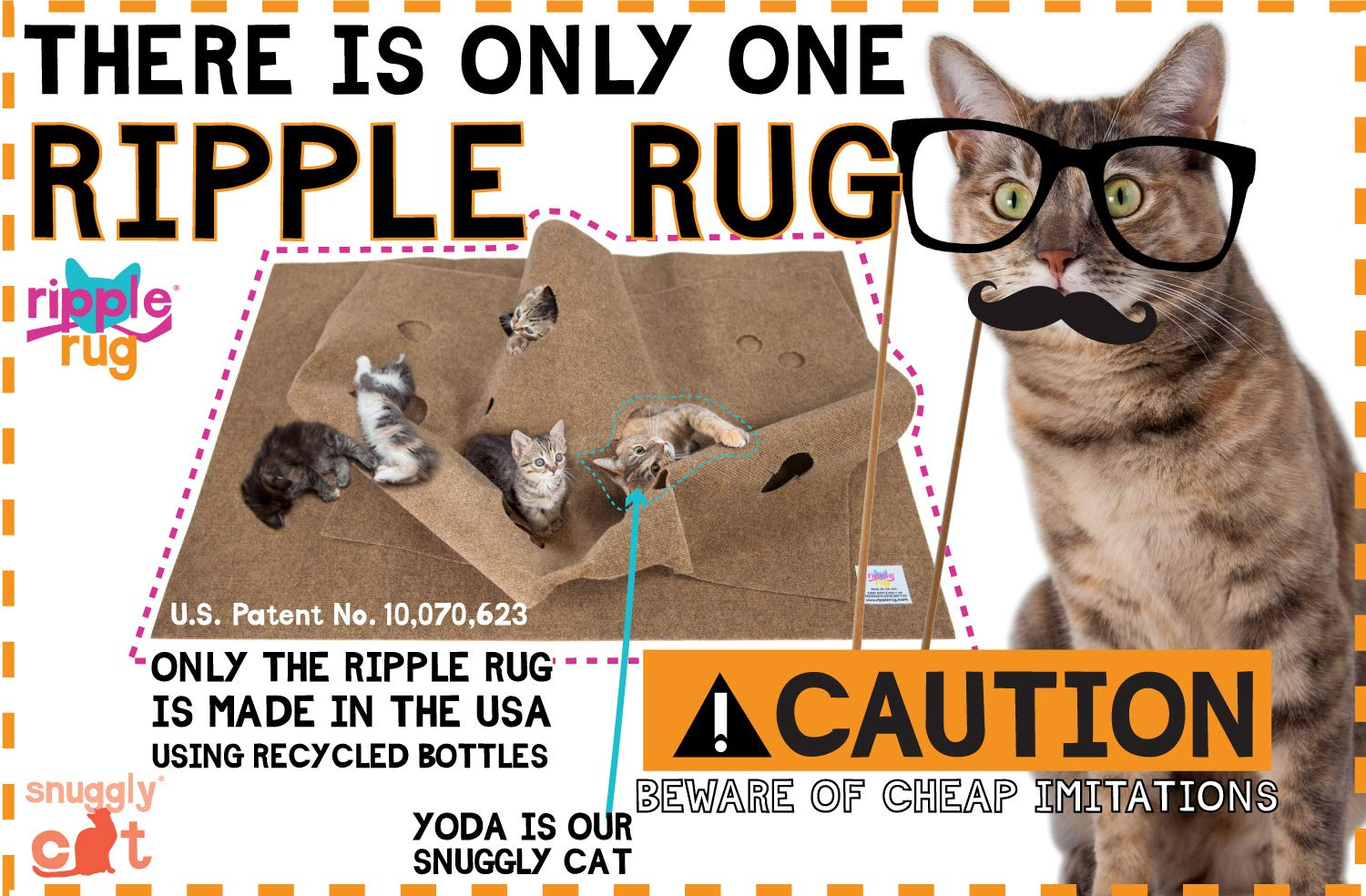 SnugglyCat The Ripple Rug - Made in USA - Cat Activity Play Mat - Thermally Insulated Base - Fun Interactive Play - Training - Scratching - Bed Mat 2
