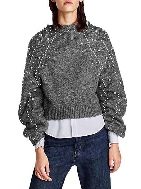 Elegante Lanterna Sweater Manica Pullover Donna A Maglia Minetom HwBqpx